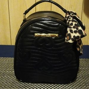 Betsey Johnson Black Backpack with Bow - quilted